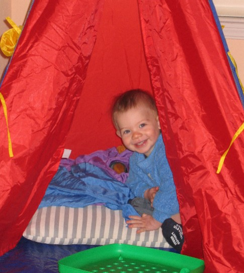 hiding in the teepee